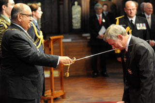 Sir Peter Snell, KNZM OBE is knighted by the Governor General Sir Anand Satayanand at the New Zealand Order of Merit Ceremony