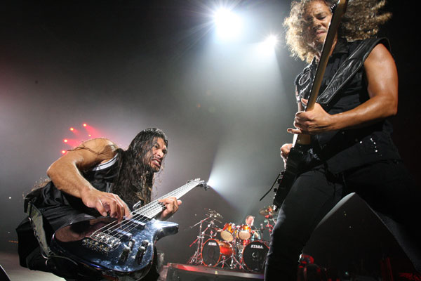 Metallica's Bass Guitarist Robert Trujillo, left, and Lead Guitarist Kirk Hammett (NZPA)
