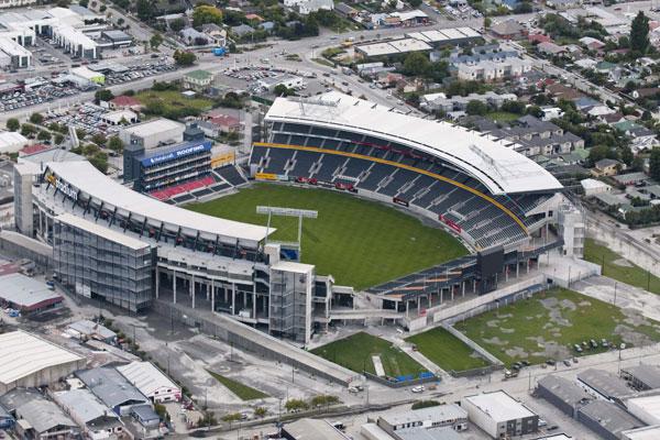 The stadium was damaged by liquefaction during the February 22 quake (NZPA)