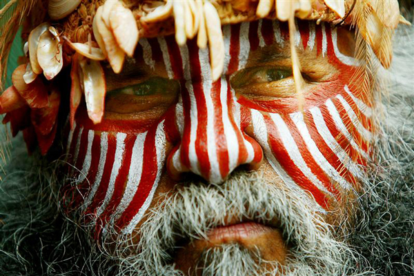 The first wave brought in ancestors of present-day aborigines of Australia (Major Sumner, a traditional custodian from the Ngarrindjeri nation in South Australia, Reuters)
