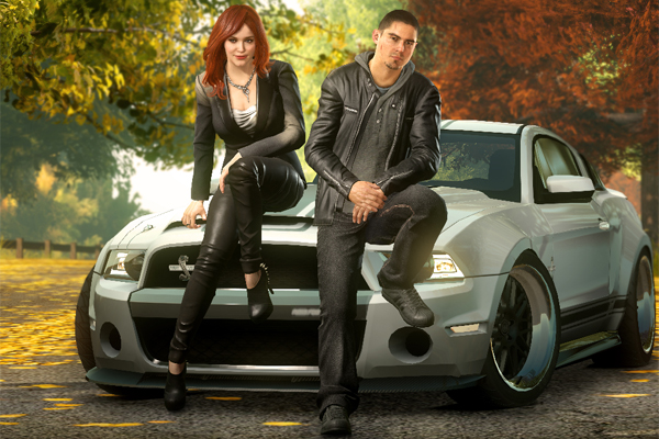NFS: The Run main characters Sam Harper (Christina Hendricks) and Jack Rourke (Sean Faris)