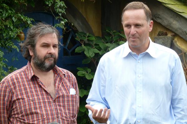Sir Peter Jackson and Prime Minister John Key on the set of the new Hobbit film (Photo: Dan Rutledge)