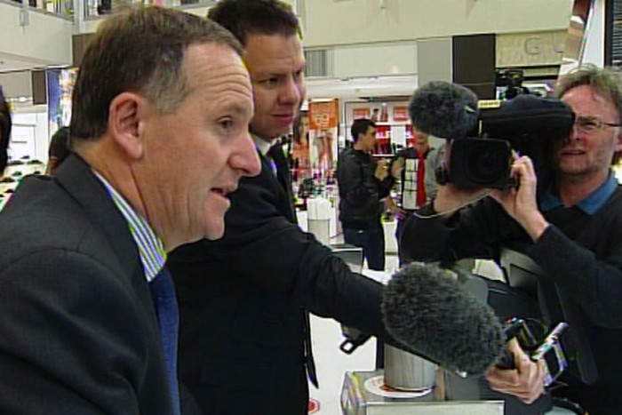 John Key visits a McDonalds