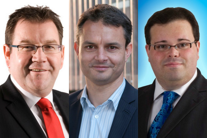 Left to right - Labour's Grant Robertson, Greens' James Shaw and National's Paul Foster-Bell