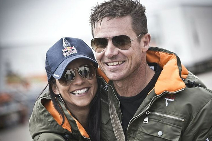 Felix Baumgartner with girlfriend Nicole Oetl (Red Bull Stratos)