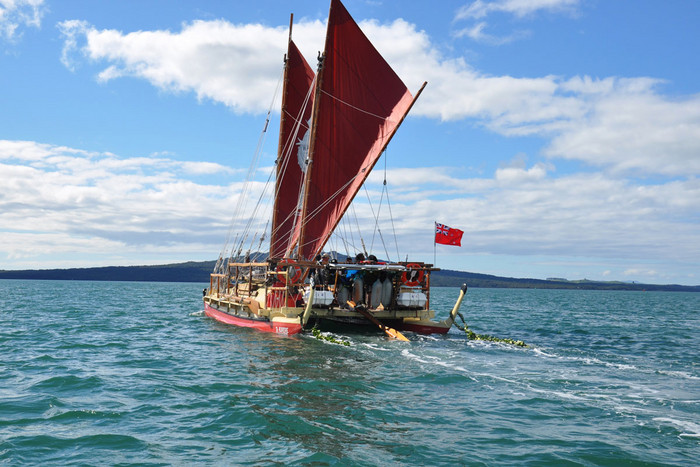 The Waka leaves Waitemata Harbour in Auckland, New Zealand on Friday, August 17, 2012 (AAP)