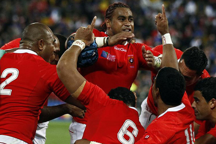 Tonga celebrates the Pool A match win over France in New Zealand during the Rugby World Cup (Reuters file)
