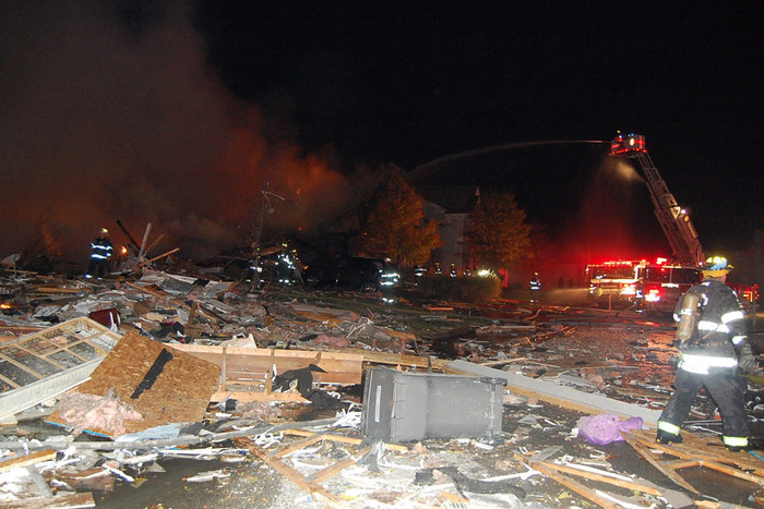 An explosion in an Indianapolis neighbourhood levelled three houses and killed (Photo: Indianapolis Fire Department)