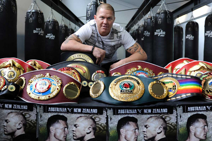 Kiwi boxer Shane Cameron with his career belts (Photosport)