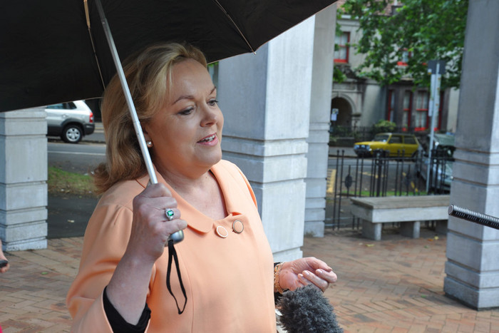 Judith Collins arrives for a settlement conference regarding her defamation case against Labour MPs Trevor Mallard and Andrew Little at the High Court in Auckland (AAP)