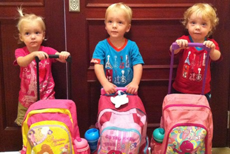 New Zealand triplets Lillie, Jackson and Willsher Weekes (file)