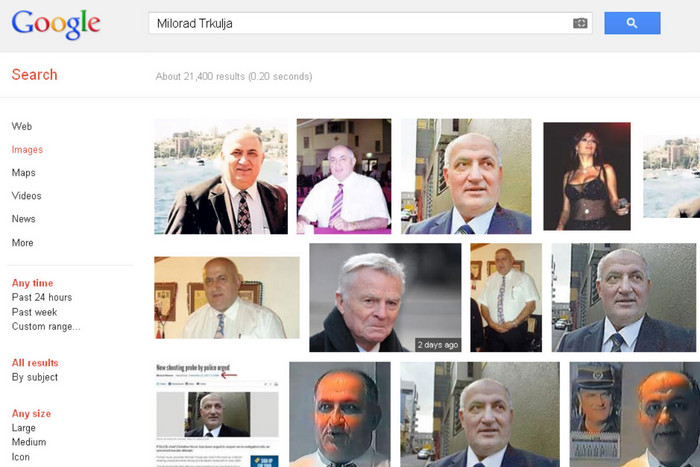 Current results for a Google image search for Milorad Trkulja