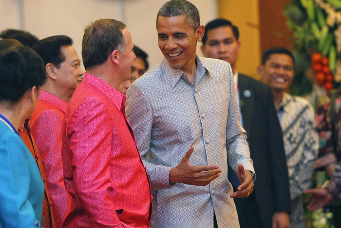 Key meets Obama as they arrive for the gala dinner together with other head of states in Phnom Penh (Reuters)