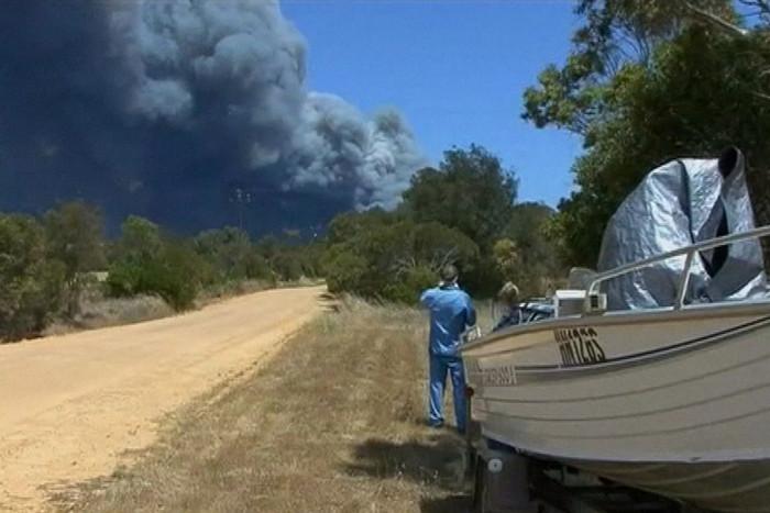 Smoke from the bushfire near Port Lincoln
