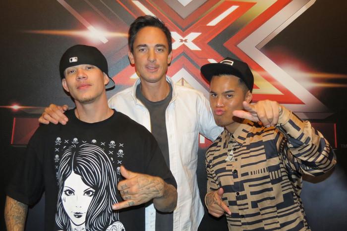 X Factor USA finalist Chris Rene with X Factor NZ host Dominic Bowden and judge Stan Walker