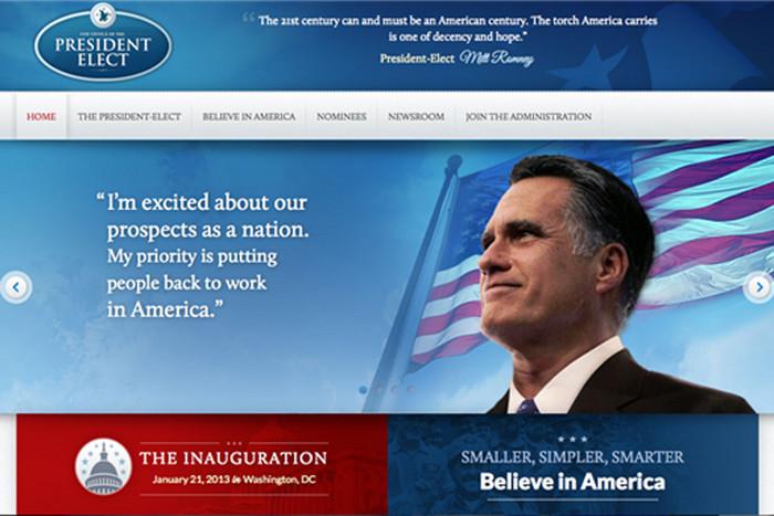 Mitt Romney's 'victory' website (Source: politicalwire.com)