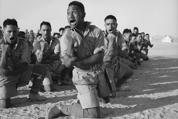 New Zealand's 28th Maori Battalion performing the haka in Egypt in June 1941 (Photo: AAP)