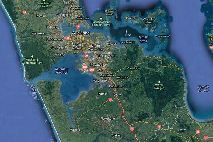 New Zealand, as seen on Google Maps