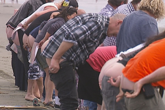 About 80 people indicated they would bare their bottoms in protest