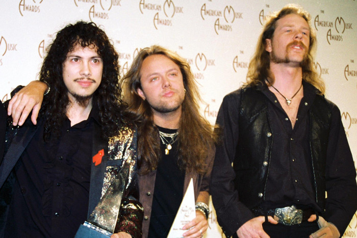 Metallica members Kirk Hammett, Lars Ulrich and James Hetfield in 1993 (WENN.com)
