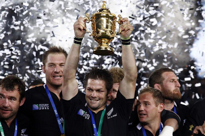 The All Blacks will tomorrow know who they face in pool play as they look to defend the Rugby World Cup (Reuters file)