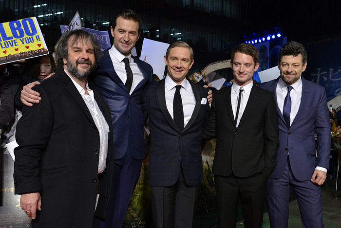 Sir Peter Jackson, Richard Armitage, Martin Freeman, Elijah Wood and Andy Serkis at the Tokyo premiere of The Hobbit: An Unexpected Journey (AAP)