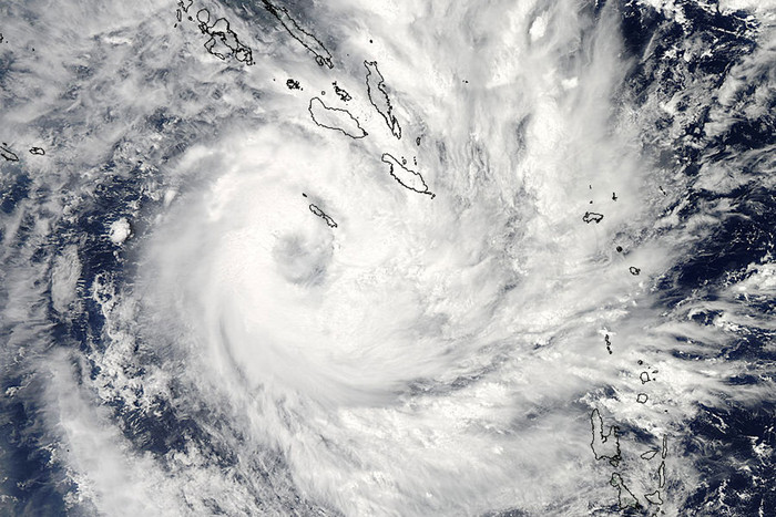 This NASA image released on December 29, 2012 from the Moderate Resolution Imaging Spectroradiometer (MODIS) on NASA's Aqua satellite shows Tropical Cyclone Freda over the Solomon Islands