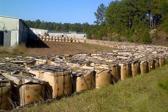 Explosives stored at an outdoor location in Louisiana (Reuters/Louisiana State Police)