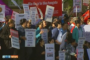 Workers at 20 of Oceania's 59 retirement villages and rest homes took strike action for two hours last Thursday