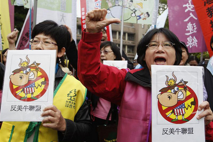 Taiwanese farmers protested against plans to allow US beef imports containing a growth drug (Reuters)