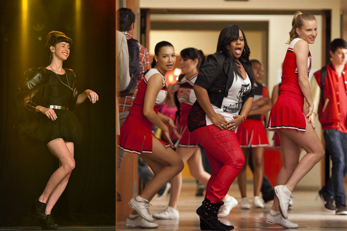 Kimbra and some of the cast of Glee