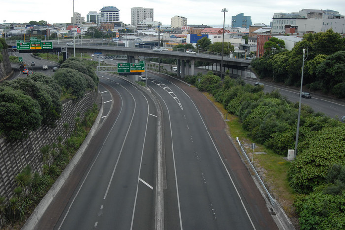 Section of Auckland's motorway in the city