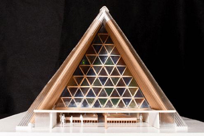 A model of the new cathedral, designed by Japanese architect Shigeru Ban