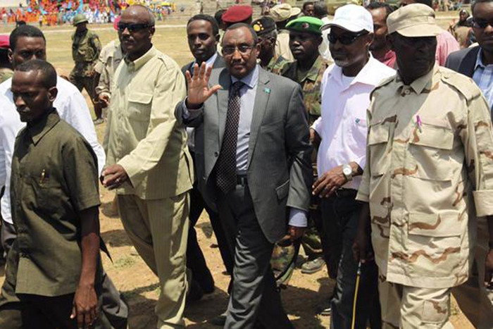 Somali prime minister Abdiwali Mohamed Ali waves as he arrives at a football stadium  (Photo: Reuters)