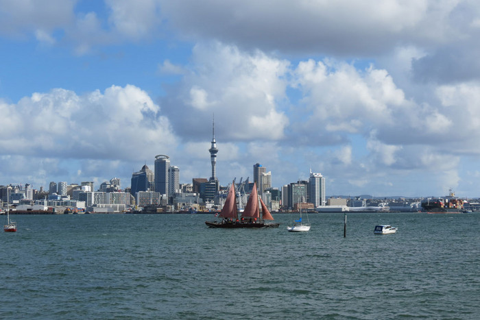 Waka Haunui sails into Auckland Harbour after travelling 30,000 nautical miles (Photo: Imogen Crispe)