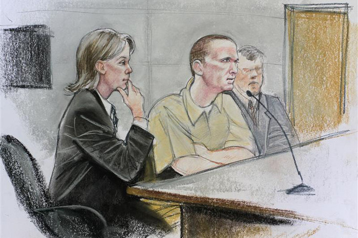 Jared Loughner (centre) is shown in a court sketch  (Reuters)