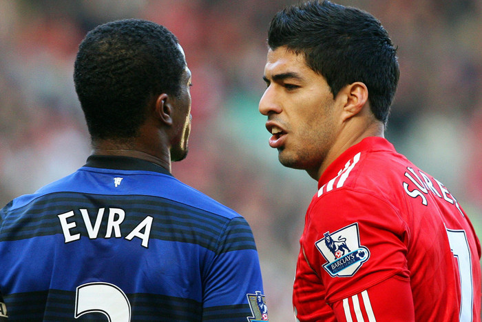 Patrice Evra and Luis Suarez have a tense relationship to say the least but who will leave with the bragging rights? (AAP file)