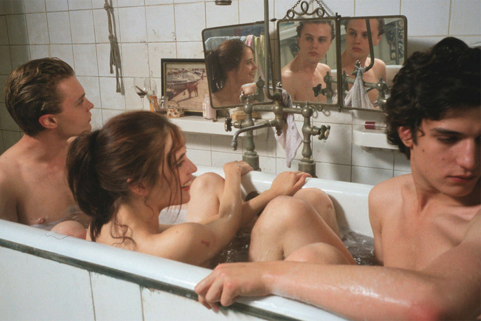 Eva Green with Michael Pitt and Louis Garrel in The Dreamers