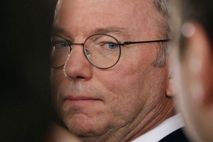 Eric Schmidt is seen at a media briefing upon his arrival from North Korea at Beijing Capital International Airport (Reuters)
