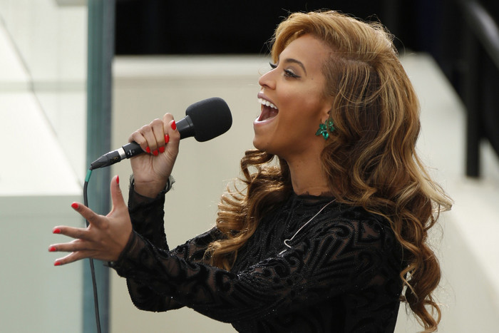 Beyonce performing 'The Star Spangled Banner' during Barack Obama's presidential inauguration (Reuters)