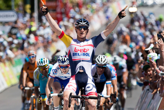 Andre Greipel claims the first stage win for the Lotto-Belisol team (AAP)