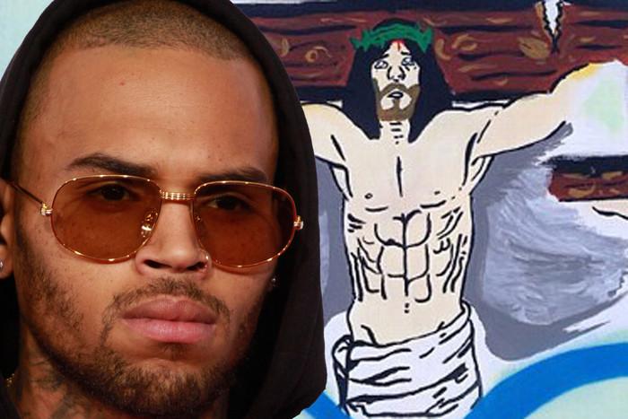 Chris Brown and his Jesus painting