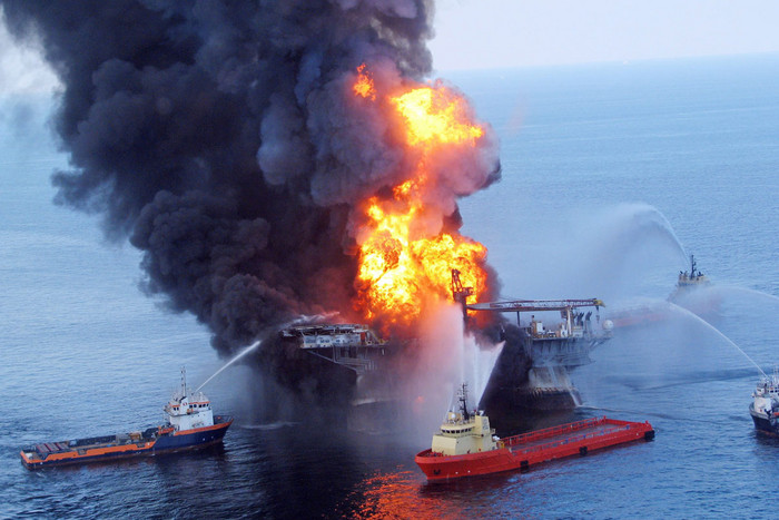 A fire aboard the mobile offshore drilling unit Deepwater Horizon in the Gulf of Mexico (AAP)