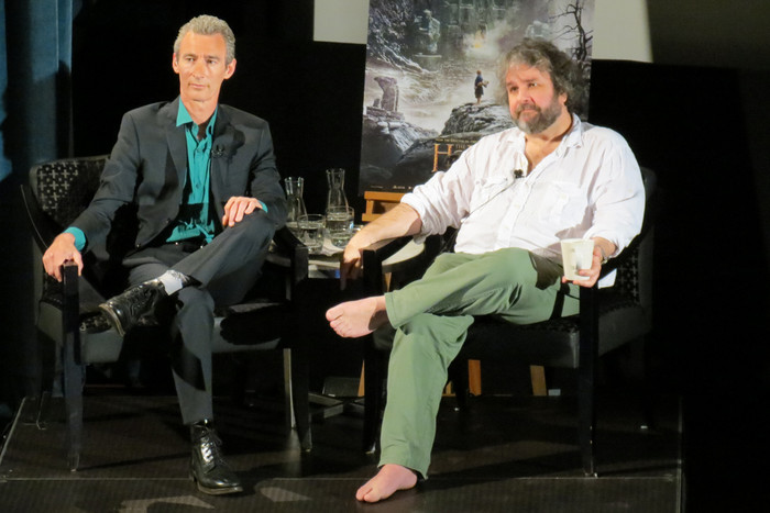 Sir Peter and actor Jed Brophy in Wellington's Embassy Theatre during The Hobbit: The Desolation of Smaug worldwide fan event