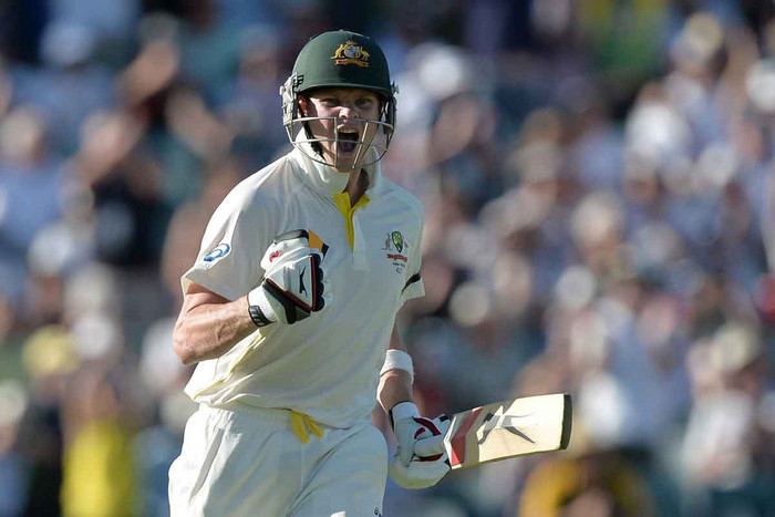 Steve Smith celebrates his Test ton on day one (AAP file)