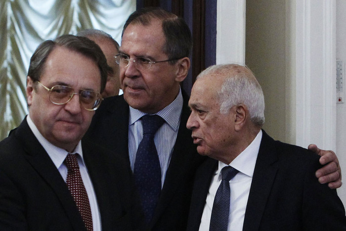 Russian Foreign Minister Sergei Lavrov (C), Russian Deputy Foreign Minister Mikhail Bogdanov (L) and Secretary-General of the Arab League Nabil Elaraby arrive for a meeting of the Russia-Arab cooperation forum in Moscow (Reuters)