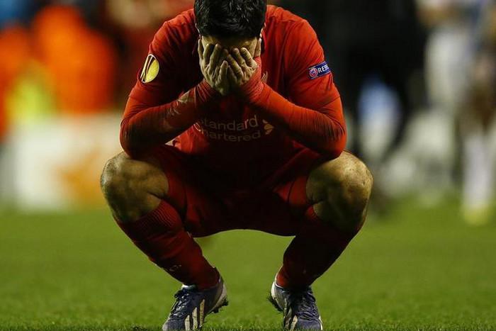 Luis Suarez shows his despair after a stunning effort falls short (Reuters)