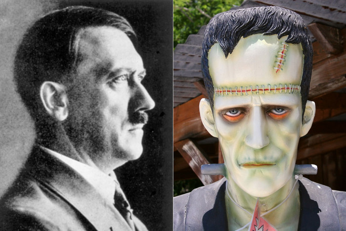 Adolf Hitler and a Frankenstein-style monster
