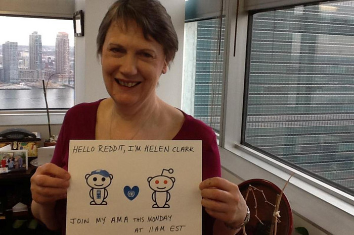 Helen Clark gets ready to chat on Reddit in her New York office (Photo: Facebook / UNDP)