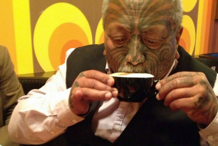 Tame Iti enjoys a cup of coffee after being released from Waikeria Prison (Photo: Twitter/@tameiti)